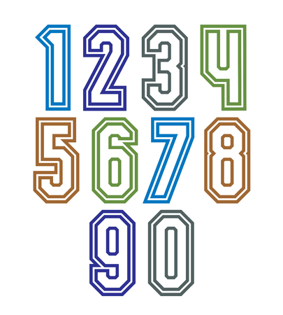 web 2 0: Colorful regular stripy numeration, modern vector poster numbers with outline and straight lines.