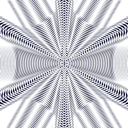 interference: Moire pattern, monochrome vector background with trance effect. Optical illusion, creative black and white graphic backdrop.