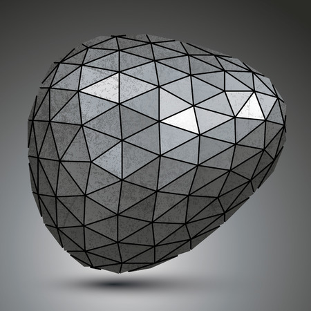 misshapen: Deformed galvanized 3d abstract object, grayscale asymmetric spherical element. Illustration