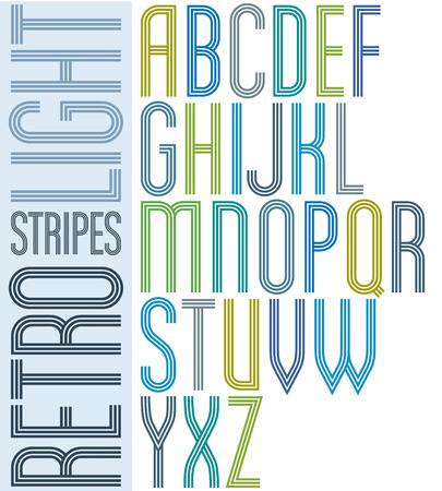 verb: Poster light striped font, uppercase letters on white background. Illustration