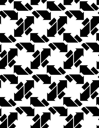 arrowheads: Seamless pattern with arrows, black and white infinite geometric textile, abstract vector textured visual covering. Monochrome inspired geometric background with arrowheads.