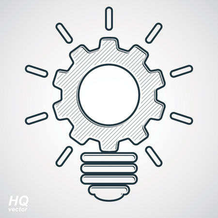 conceptual symbol: Vector light bulb shape, high quality cog wheel isolated on white background. Technical solution conceptual symbol, manufacturing and business idea icon, retro graphic gear. Industry innovation thought design element.