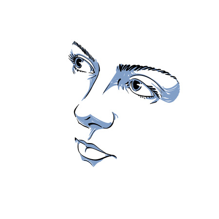beautiful face: Facial expression, hand-drawn illustration of face of romantic pensive girl with positive emotional expressions. Beautiful features of lady visage, peaceful personality.