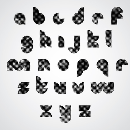 lower case: Black dotty graphic lower case letters, round decorative font.