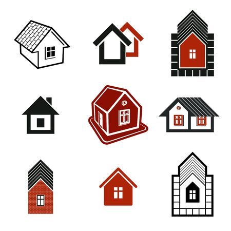 mansion: Different houses icons for use in graphic design, set of mansion conceptual symbols, vector abstract property images. Real estate business abstract emblems collection. Illustration