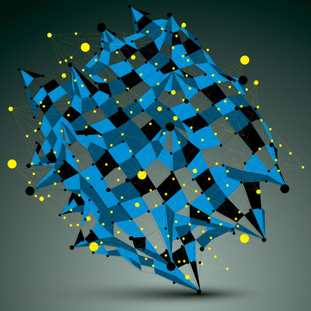 Complicated abstract blue 3D shape, vector digital lattice object. Technology theme.