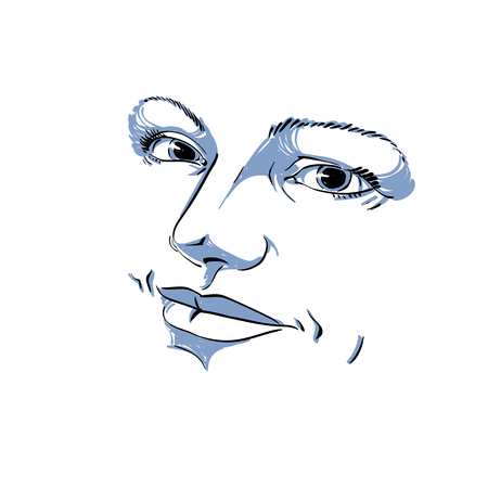 Monochrome silhouette of peaceful attractive lady, face features. Hand-drawn vector illustration of woman visage, outline.
