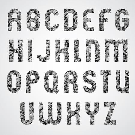 lettre alphabet: Motif noir et blanc glamour font la mode, des lettres majuscules. Illustration