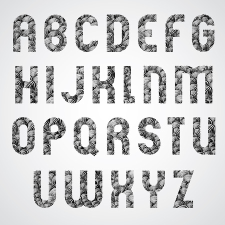 glamorous: Pattern glamorous black and white fashionable font, upper case letters.