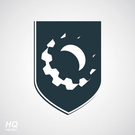 escutcheon: High quality 3d graphic gear symbol on a shield, heraldic escutcheon with an engineering design element. Engine component symbol – industrial cog wheel. Defense emblem. Illustration