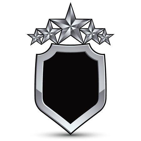 escutcheon: Festive black vector emblem with outline and five silver decorative pentagonal stars, 3d royal conceptual design element, clear eps8. Symbolic coat of arms isolated on white background. Heraldic escutcheon.