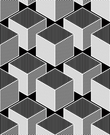 entwine: Contemporary abstract vector endless background, three-dimensional repeated pattern. Decorative graphic entwine ornament, cubes.