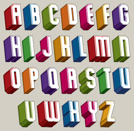 verbs: 3d font, vector bold and heavy letters, geometric dimensional alphabet, best for use in advertising and web design. Illustration