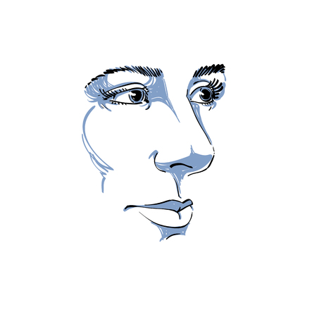 melancholic: Vector art drawing, portrait of gorgeous dreamy girl isolated on white. Facial expressions, people positive emotions. Caucasian melancholic woman, visage features.