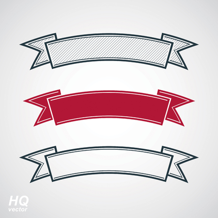 undulate: Three undulate vector festive ribbons, classic design stripe. Decorative curvy element - winner conceptual emblems.
