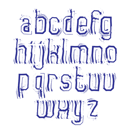 typeset: Vector stylish brush lowercase letters with outline, handwritten font, doodle typeset on white background.