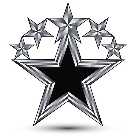 five stars: Royal black star with silver outline, geometric five stylized silver stars, best for use in web and graphic design, 3d luxury conceptual vector icon isolated on white background. Symbolic escutcheon