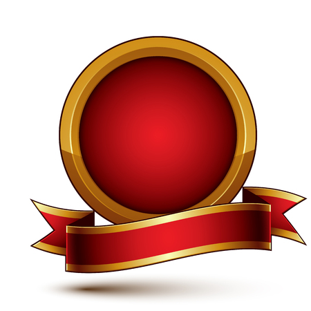 awarded: 3d vector classic royal symbol, sophisticated golden ring with red wavy ribbon, celebrity emblem isolated on white background, glossy round festive tape, best for web and graphic design.