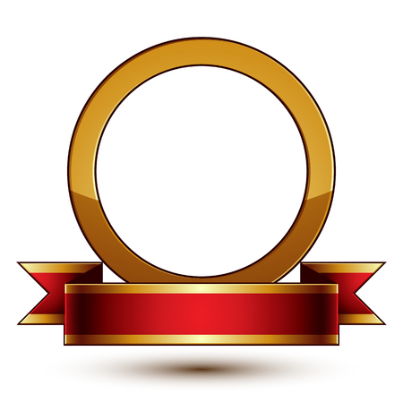 golden ring: Design vector golden ring template with red curvy ribbon, 3d round aristocratic badge isolated on white background. Eps8 sophisticated escutcheon.