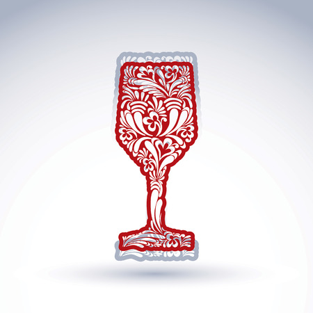 Stylized flower-patterned goblet isolated on white backdrop, alcohol drink theme vector illustration. Elegant decorative wineglass with shadow, romantic design element.