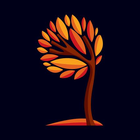 symbol decorative: Artistic stylized design symbol, decorative beautiful tree illustration. Can be used as ecology and environmental conservation theme.  Inspiration seasonal image.