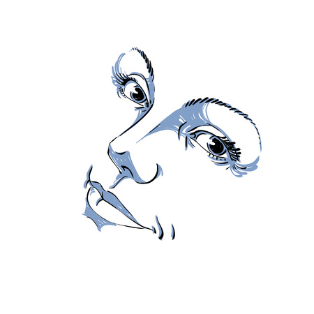 features: Monochrome hand-drawn silhouette of woman face, delicate features. Face expression on lady face, vector illustration.