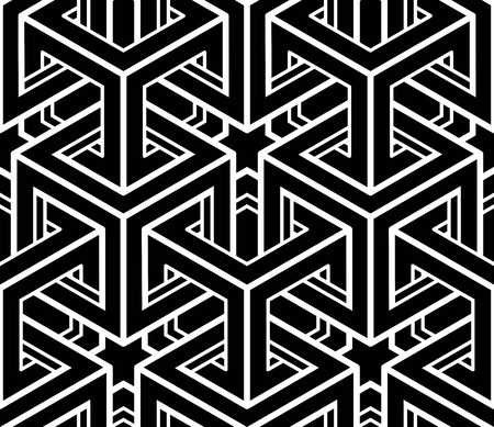 Seamless optical ornamental pattern with three-dimensional geometric figures. Intertwine black and white composition.  イラスト・ベクター素材