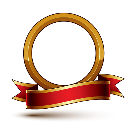 golden ring: Design vector golden ring template with red curvy ribbon, 3d round aristocratic token isolated on white background. Eps8 sophisticated escutcheon.
