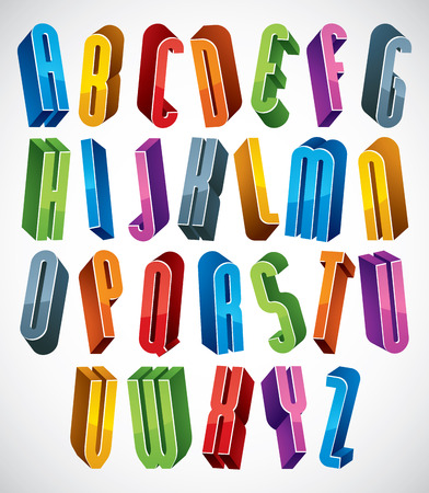 verbs: 3d font, vector tall thin letters, geometric dimensional alphabet made with round shapes, best for use in advertising and web design. Illustration