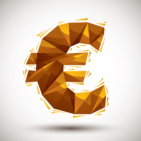 reaches: Golden euro sign geometric icon made in 3d modern style, best for use as symbol or design element for web or print layouts.