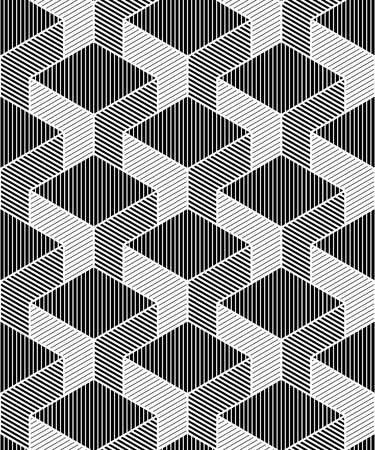 superimpose: Contrast black and white symmetric seamless pattern with interweave figures. Continuous geometric composition, for use in graphic design.