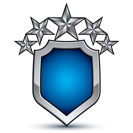 Majestic blue vector emblem with five silver decorative pentagonal stars, 3d royal conceptual design element, clear eps8. Shiny coat of arms isolated on white background. Heraldic escutcheon.