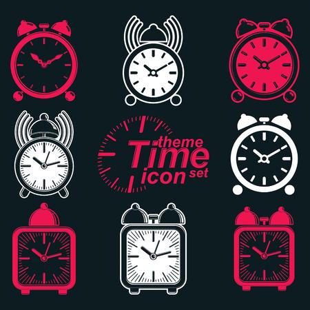 get up: Vector quadrato sveglie 3d con campana dell'orologio, decorativo sveglia icone concettuali collezione. Elementi di progettazione grafica - si alzano tema. Cameriere squillo simboli invertiti.