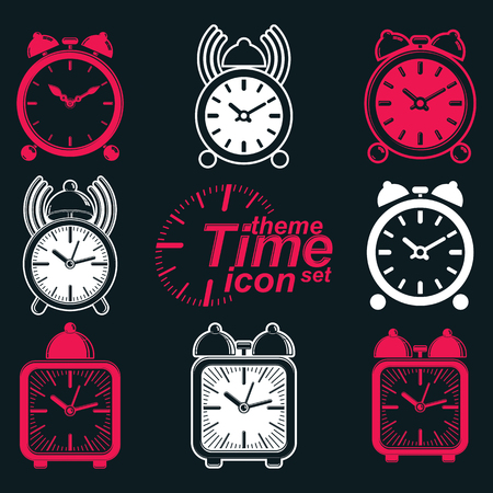 get up: Vector squared 3d alarm clocks with clock bell, decorative wake up conceptual icons collection. Graphic design elements – get up theme. Waiter ringing invert symbols.