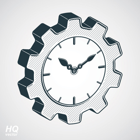 cog wheel: Vector 3d retro cog wheel and clock with an hour hand, business organizer symbol. Production process planning conceptual icon. Industry and engineering design element – gear.
