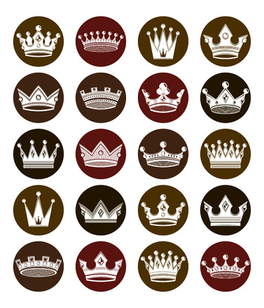 coronet: Set of 3d white royal crowns isolated. Majestic classic symbols, coronet collection. Web and graphic vector elements.