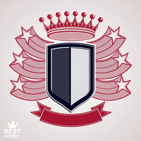 Royal stylized vector graphic symbol. Shield with 3d flying stars and imperial crown. Clear eps8 coat of arms – security idea. Decorative coronet, web design blazon.