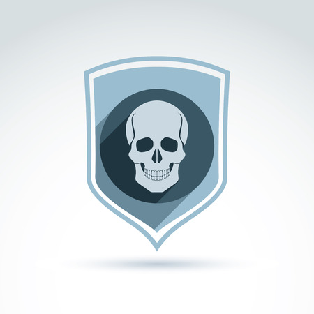 cranium: Vector illustration of a human skull in a shield. Dead head abstract symbol, cranium icon.