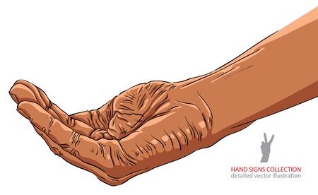 begging: Begging hand, African ethnicity, detailed vector illustration.