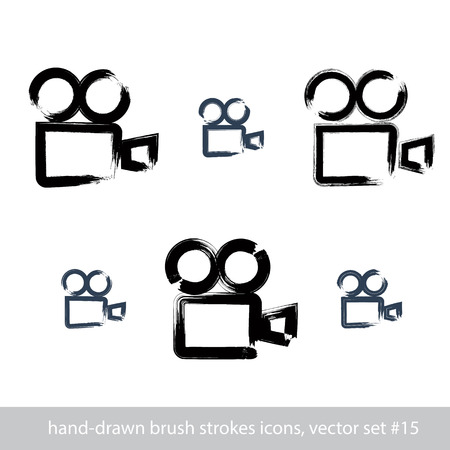 videotape: Set of realistic ink hand-drawn vector stroke video camera icons, collection of simple hand-painted camera symbols isolated on white background. Illustration