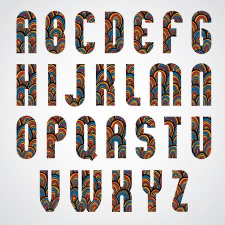 Pattern ornamental colorful abstract font, upper case letters. Ilustração
