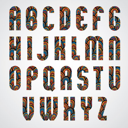 upper case: Pattern ornamental colorful abstract font, upper case letters. Illustration