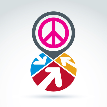 simbolo paz: Peace propaganda icon with arrows, working and cooperation for peace, vector conceptual unusual symbol for your design.
