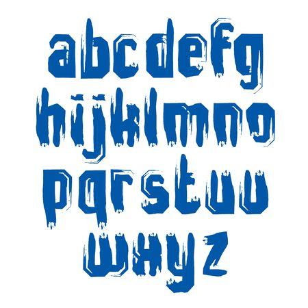 lettre alphabet: Manuscrit vecteur minuscules lettres isol� sur fond blanc, peint composer moderne. Illustration