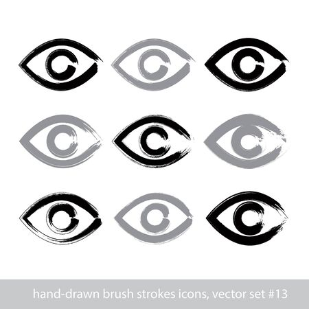 see a doctor: Set of hand-drawn stroke human eye icons, collection of brush drawing monochrome medicine signs, hand-painted eyes isolated on white background.