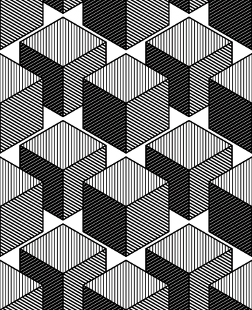 illusory: Monochrome illusory abstract geometric seamless pattern with 3d geometric figures, cubes. Vector black and white striped backdrop.