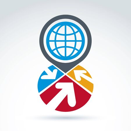 circulate: Colorful corporate brand icon with a planet symbol. Marketing emblem on Earth protection idea. Abstract sectored icon with arrows and globe sign. Illustration