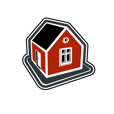 country house: Simple village mansion icon, vector abstract house. Country house, conceptual sign best for use in graphic and web design.