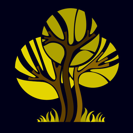 trees illustration: Artistic stylized natural symbol, creative tree illustration. Can be used as ecology and environmental conservation concept. Illustration
