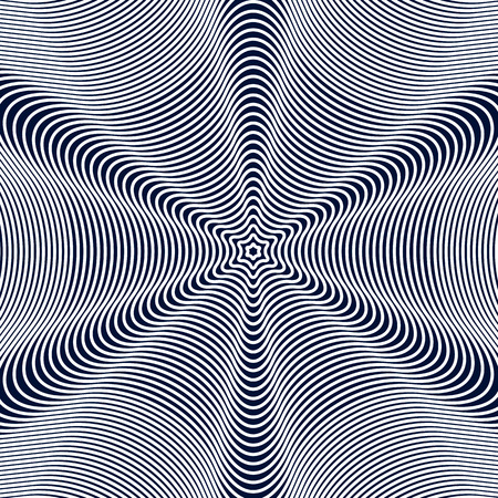 Optical illusion, moire background, abstract lined monochrome tiling. Unusual vector geometric pattern with visual effects.